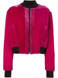 Marcelo Burlon County Of Milan 'Torrisimo' Velvet Bomber Jacket Pink Purple