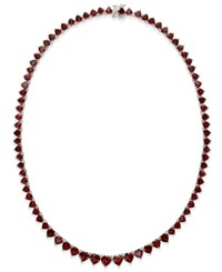 Macy's Rhodolite Garnet Hearts All Around Collar Necklace 45 Ct. T.W. In Sterling Silver