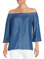 Rd Style Off The Shoulder Chambray Top Indigo
