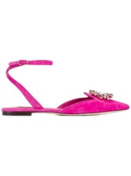 Dolce And Gabbana Crystal Embellished Flats Pink Purple