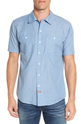 Brixton Men's 'Blake' Stripe Short Sleeve Woven Shirt Light Blue