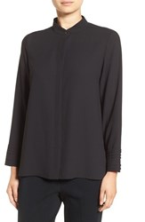 Ming Wang Women's Mandarin Collar High Low Blouse