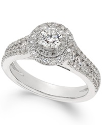 Macy's X3 Certified Diamond Halo Engagement Ring In 18K White Gold 1 1 4 Ct. T.W.