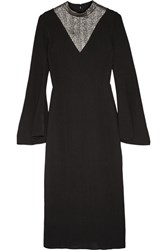 Ellery Pippin Lame Paneled Stretch Knit Midi Dress Black