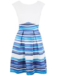 Closet Stripe V Back Box Pleat Dress Blue
