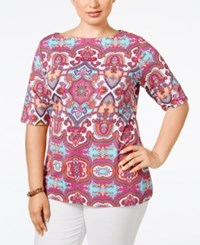Charter Club Plus Size Medallion Print Boat Neck Top Only At Macy's Summer Reef Combo