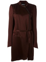 Ann Demeulemeester Zipped Asymmetric Trench Coat Red