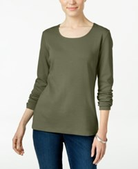 Karen Scott Long Sleeve Scoop Neck Top Only At Macy's Olive Sprig