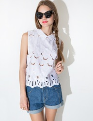 Pixie Market Risa White Embroidered Shirt