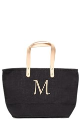 Cathy's Concepts 'Nantucket' Personalized Jute Tote Black Black M