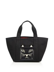 Charlotte Olympia Ami Kitty Small Canvas Tote Black