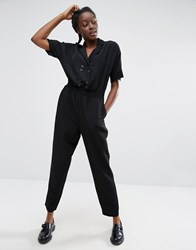 Monki Tailored Eyelet Detail Jumpsuit Black