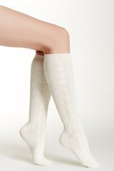 Shimera Cable Knee High Sock White