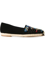 Giuseppe Zanotti Design Embroidered Espadrilles Black