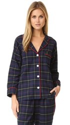 Sleepy Jones Flannel Plaid Marina Pajama Shirt Navy