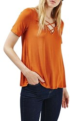Topshop Women's Cross Neck Tee