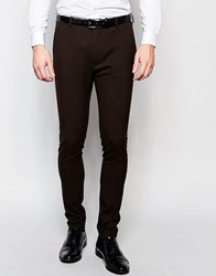 Asos Super Skinny Suit Trousers In Brown Brown