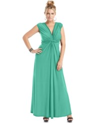Love Squared Trendy Plus Size Sleeveless Knotted Maxi Dress Jade