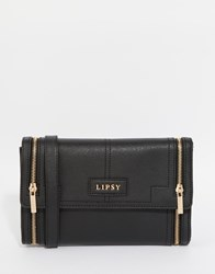 Lipsy Double Zip Cross Body Bag In Black Black
