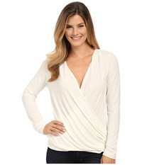 Bobeau Cross Front Long Sleeve Knit Top Ivory Women's Long Sleeve Pullover White
