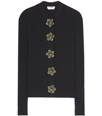 Fendi Embellished Cotton Cardigan Black