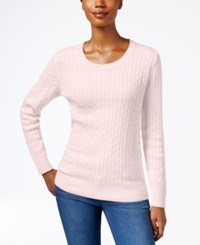Karen Scott Crew Neck Cable Knit Sweater Only At Macy's Blush