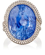 Munnu Women's Blue Sapphire Cocktail Ring Colorless