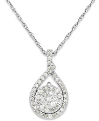 Macy's Diamond Cluster Pendant Necklace In Sterling Silver 1 5 Ct. T.W.