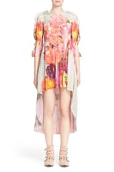 Undercover Floral Print High Low Silk Dress White