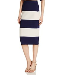 Kendall And Kylie Knit Stripe Pencil Skirt Blue White Stripe