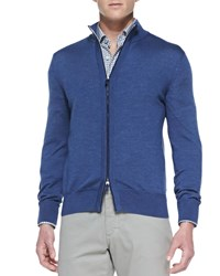 Ermenegildo Zegna High Collar Wool Silk Zip Cardigan Blue