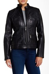 Bernardo Zipper Cuff Leather Jacket Black