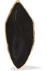 Balmain Hammered Gold Tone Stone Earring Black