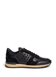 Valentino Rubber Rockstud Leather Suede Sneakers Black