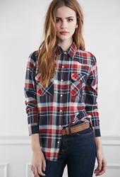 Forever 21 Two Pocket Plaid Flannel Shirt Dark Navy Red