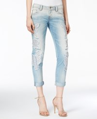 Miss Me Embroidered Boyfriend Ankle Light Blue Wash Jeans