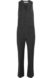 Givenchy Straight Leg Jumpsuit In Black And White Striped Wool Jacquard