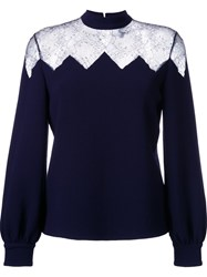 Huishan Zhang Sheer Lace Panel Blouse Blue