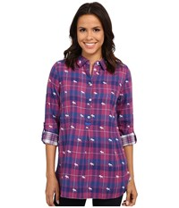 Hatley Plaid Pop Over Top Orchid Navy Moose Women's Clothing Pink