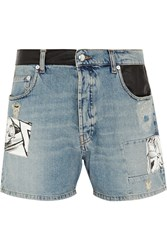 Mcq By Alexander Mcqueen Patchwork Denim Shorts Blue