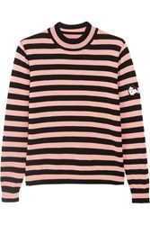 Shrimps Eric Appliqued Striped Wool Sweater Pink