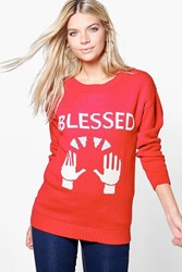 Boohoo Blessed Christmas Jumper Red