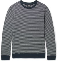 A.P.C. Striped Cotton Sweater Navy