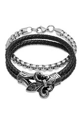 Steeltime Assorted Fleur De Lis Rope And Link Bracelet Set Multi