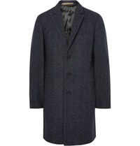 Paul Smith P By Mith Lim Fit Herringbone Lub Wool Blend Overcoat Midnight Blue