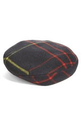 Rag And Bone Women's Plaid Wool Blend Beret Red Multi