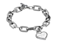 Michael Kors Heritage Heart Charm Toggle Silver Clear Charms Bracelet