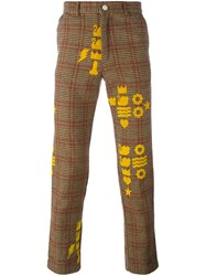 Walter Van Beirendonck Vintage Printed Checked Trousers Nude And Neutrals