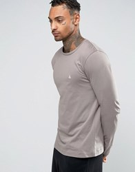 Asos Long Sleeve T Shirt With Crew Neck And Logo In Grey Grey Green