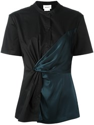 Dkny Twisted Front Contrast Shirt Black